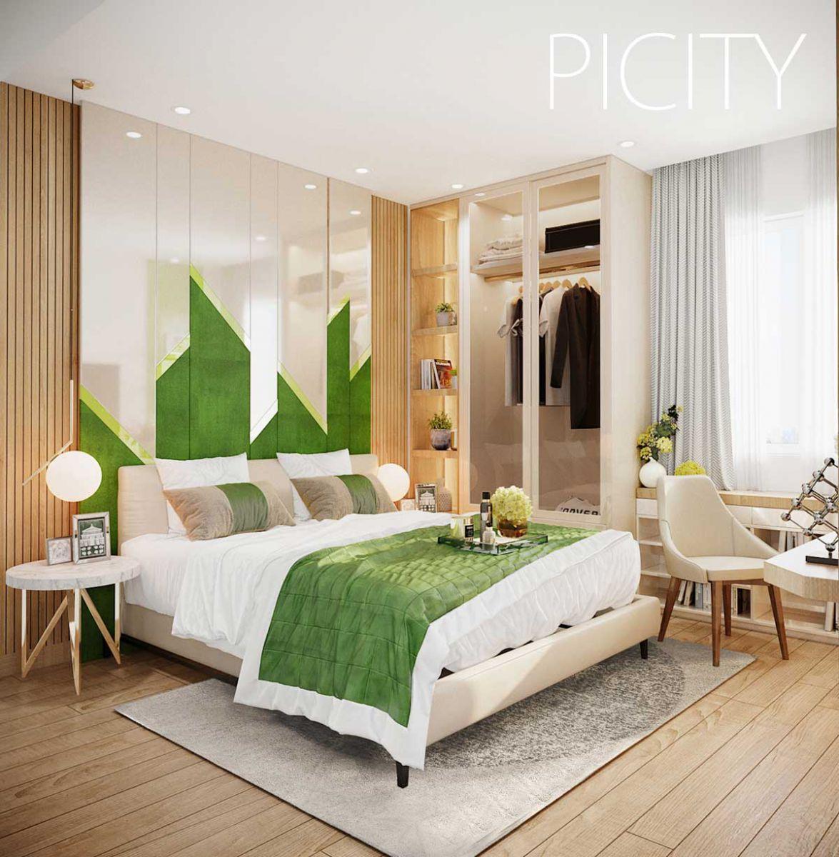 Phòng ngủ lớn Căn hộ Pi City Thạnh Xuân