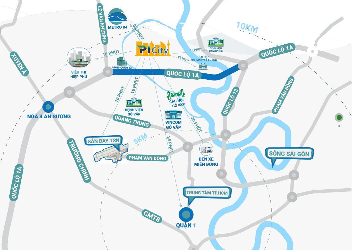 Vị trí Dự án Căn hộ Chung cư PiCity Quận 12