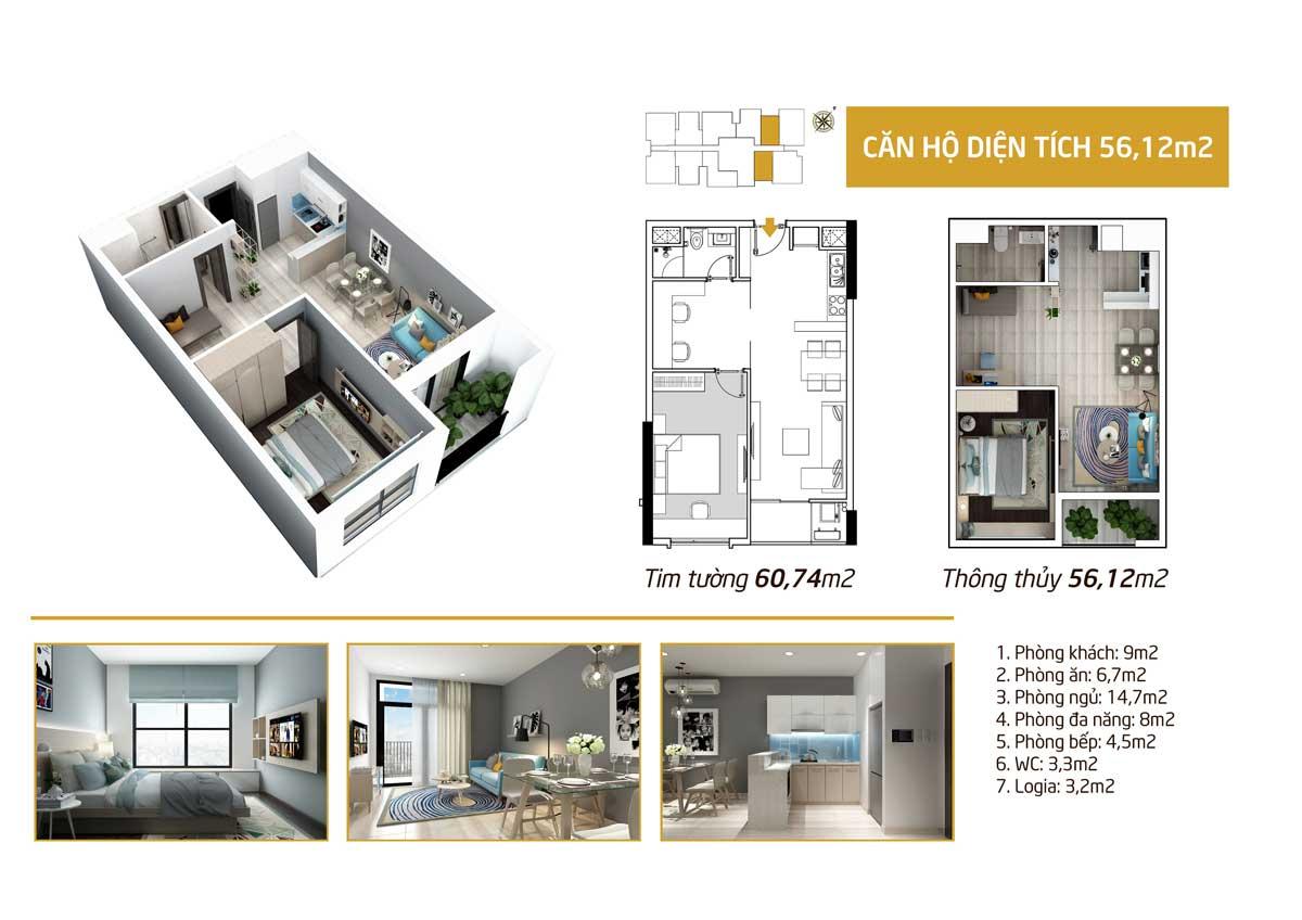 diện tích phòng ngủ 56m2 căn hộ Picity