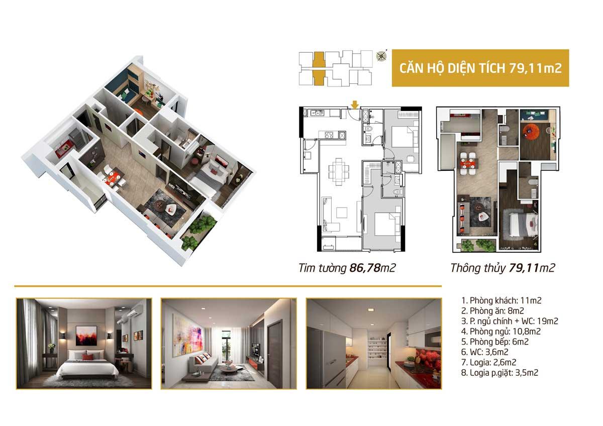 diện tích phòng ngủ 79m2 căn hộ Picity