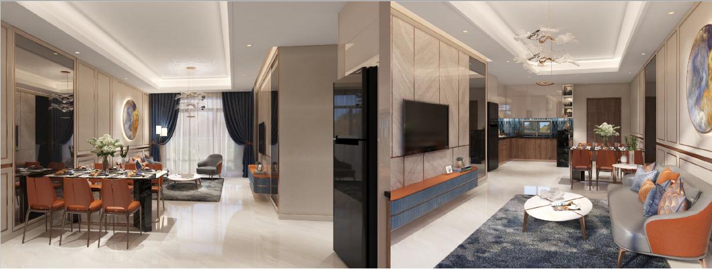 phòng khách căn hộ opal boulevard