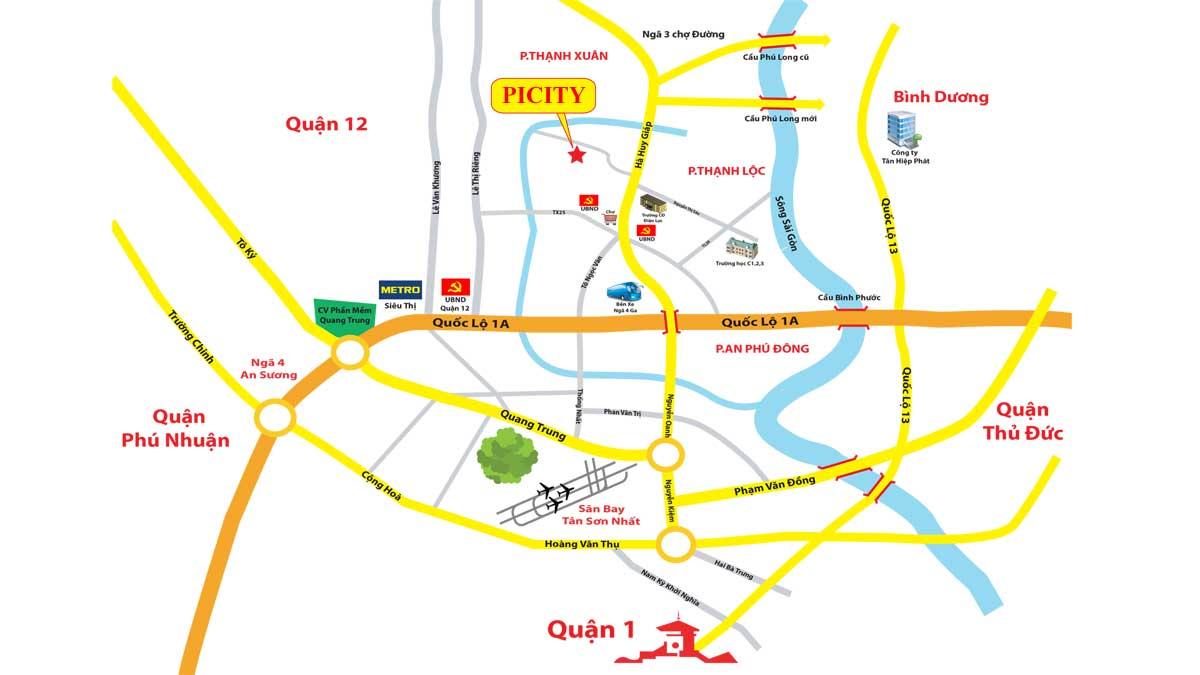 Vị trí Dự án Căn hộ PiCity Thạnh Xuân Quận 12