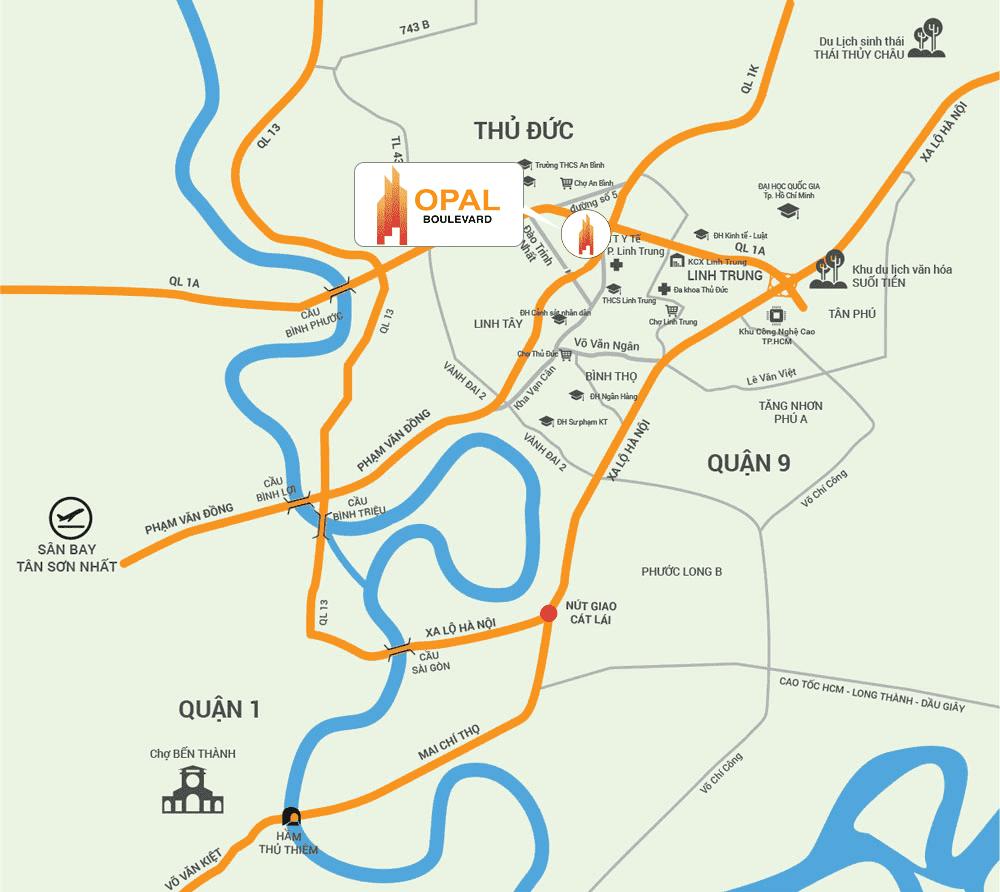 vị trí dự án opal boulevard